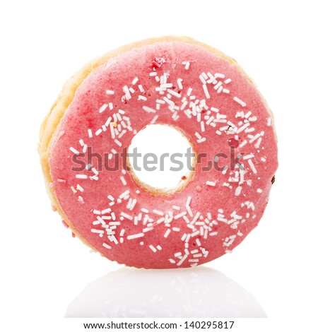 Pink donut isolated on white background - stock photo