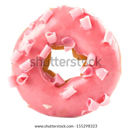 Pink donut isolated on white background - stock photo