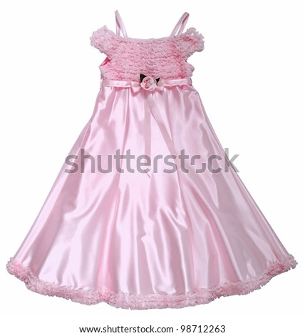 pink dress with rose - stock photo