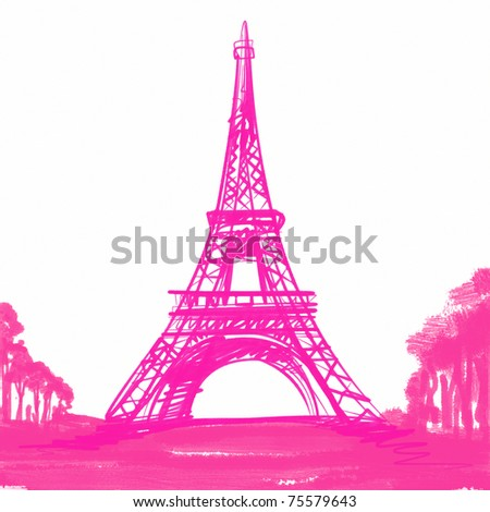 pink Eiffel Tower in Paris , Europe - stock photo