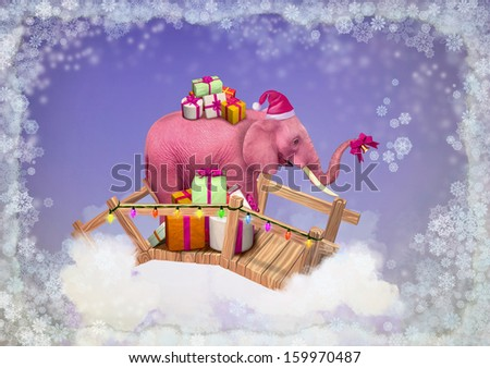 Pink elephant in the sky with Christmas gifts. Illustration - stock photo