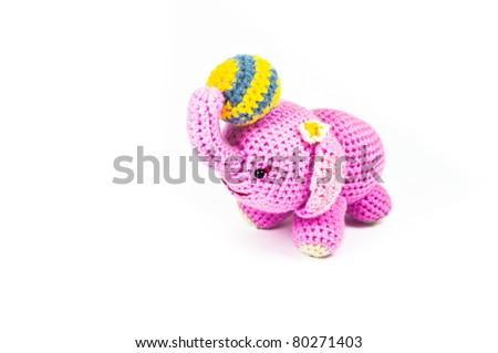 Pink elephant   Knitting doll  - stock photo