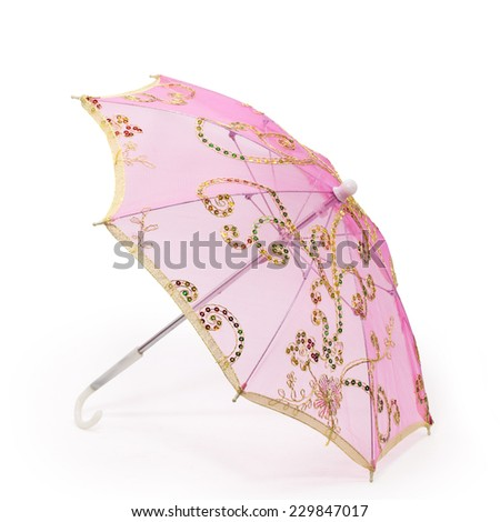 pink embroidery umbrella isolated on white background - stock photo