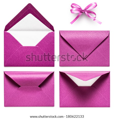 Pink envelopes and bow ribbon collection isolated on white background - stock photo