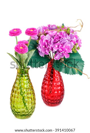 Pink fabric flowers in vases isolated on white background. - stock photo