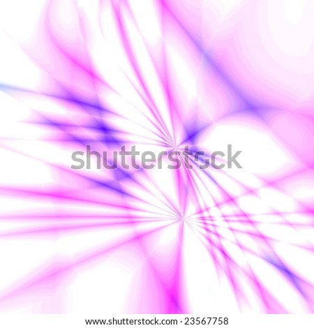 Pink fantasy rays on white background - stock photo