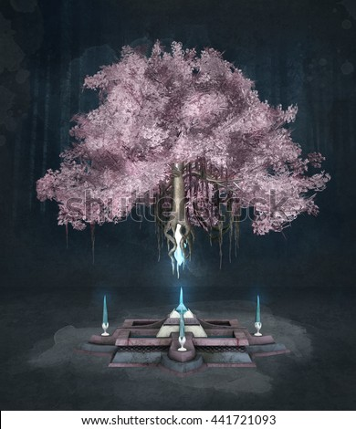 Pink fantasy tree on a dark background - 3D illustration - stock photo