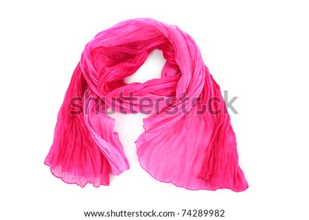 Pink female scarf isolated on white background - stock photo