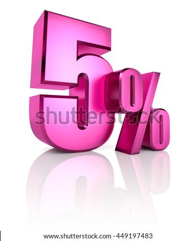 Pink five percent sign isolated on white background. 3d rendering - stock photo
