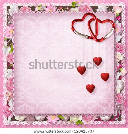 pink floral greeting card with hearts for Valentine's Day - stock photo