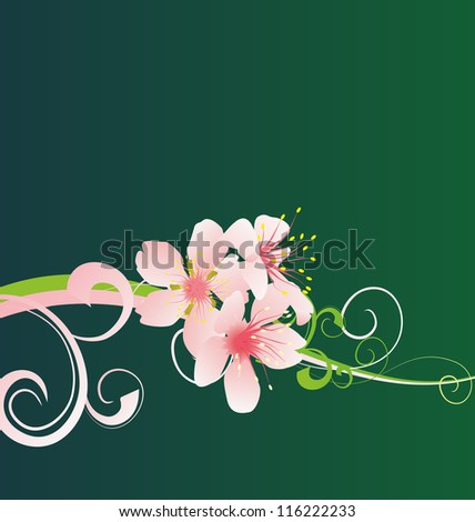Pink flower on green background - stock photo