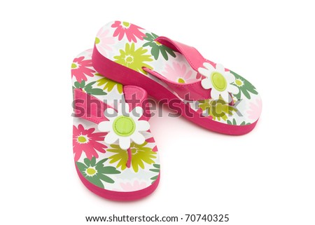 Pink flowered flip flops on a white background, Summer Clothes - stock photo