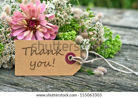 pink flowers and card with lettering thank you/thank you/english - stock photo