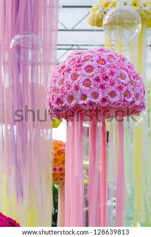 Pink flowers designed from jelly fish - stock photo