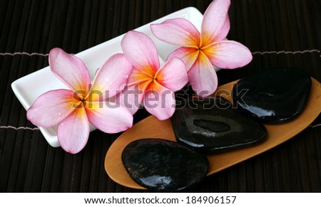 Pink Frangipani With Zen Stone - stock photo