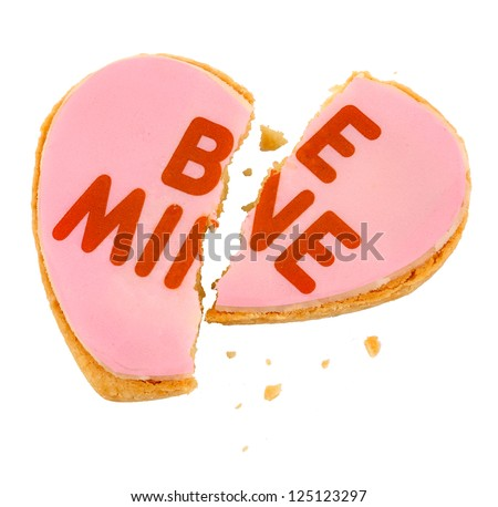 Pink Frosted Be Mine Heart Cookie - Broken Heart - stock photo