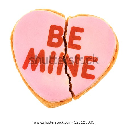 Pink Frosted Be Mine Heart Cookie - Fractured Heart - stock photo