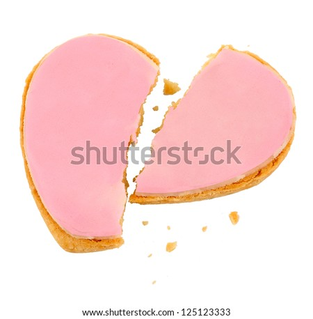 Pink Frosted Heart Cookie - Broken Heart - stock photo