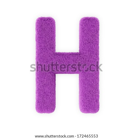 Pink Furry Letters isolated on a white background (Letter H) - stock photo