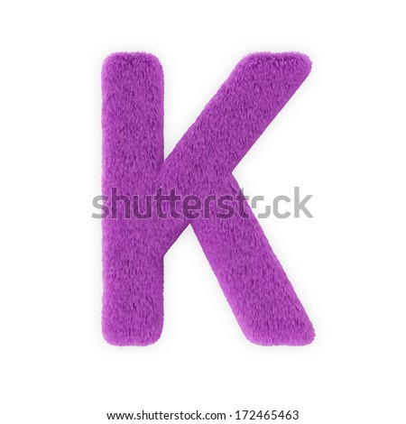 Pink Furry Letters isolated on a white background (Letter K) - stock photo