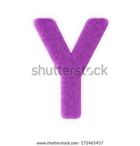 Pink Furry Letters isolated on a white background (Letter Y) - stock photo