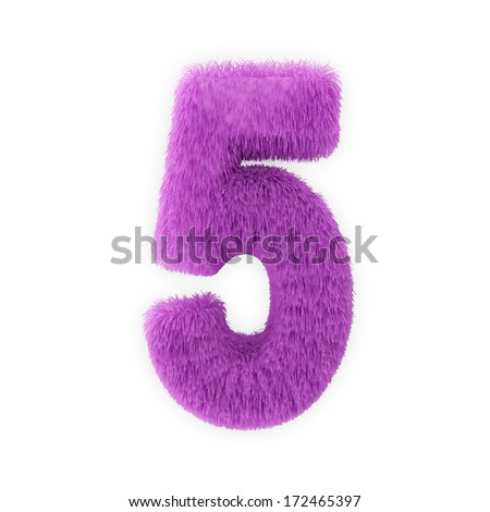Pink Furry Numbers isolated on a white background (Number 5) - stock photo