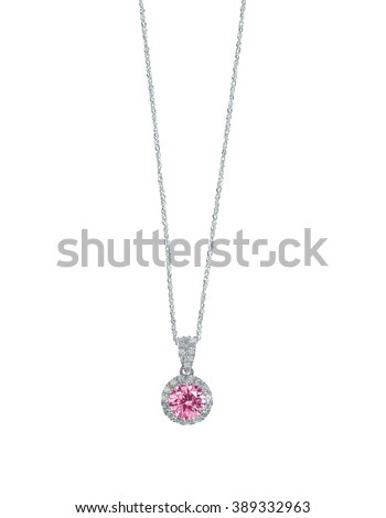 Pink Gemstone diamond necklace with chain isolated on white - stock photo