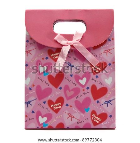Pink gift bag - stock photo