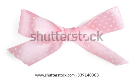 Pink gift bow isolated on white - stock photo