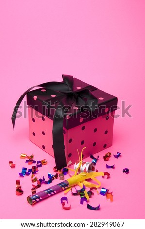 Pink gift Box on Pinl Background - stock photo