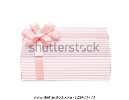 Pink gift box with ribbon and bow. Isolated on white background - stock photo