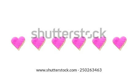 Pink  Gingerbread hearts Isolated on white background - stock photo