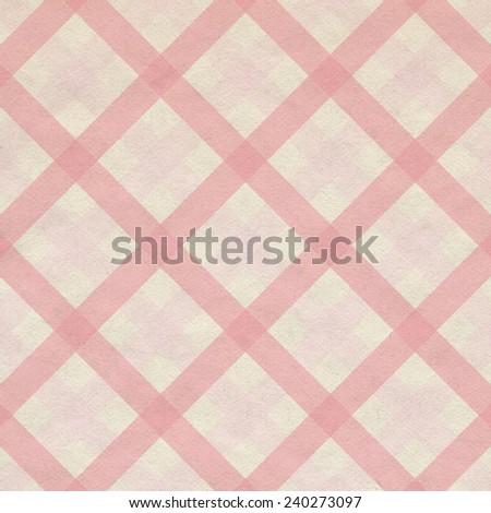 Pink gingham fabric cloth, seamless pattern - stock photo