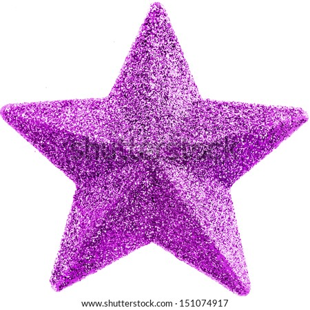 pink glittering christmas star isolated on white background  - stock photo