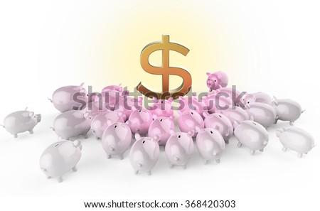 pink glossy piggybank pigs crowding around golden dollar sign. metaphor of financial savings in crisis. high quality 3d render - stock photo