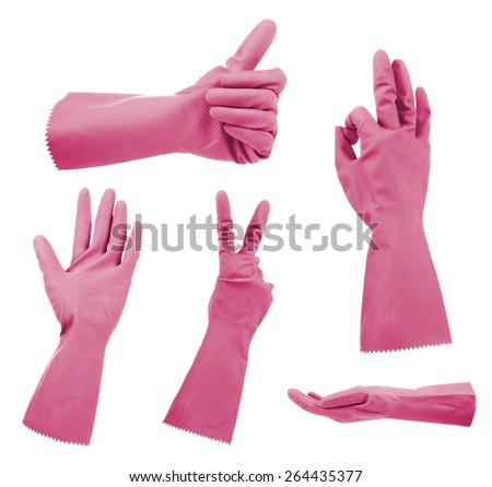 Pink gloves gestures, isolated on white - stock photo