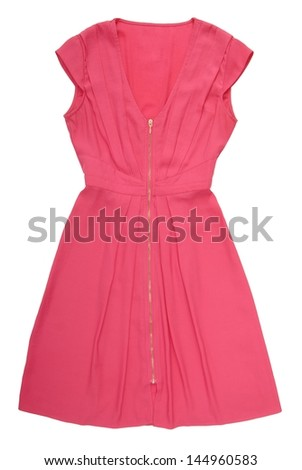 Pink gown is on white background.  - stock photo