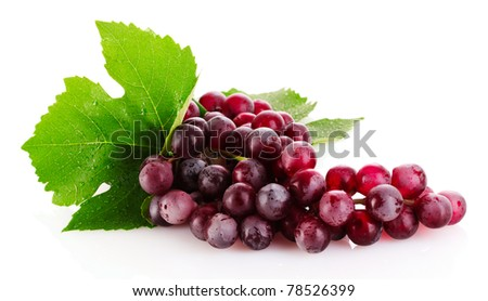 Pink grape isolated on white - stock photo