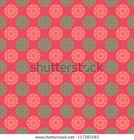 Pink & Green Floral Medallions - stock photo