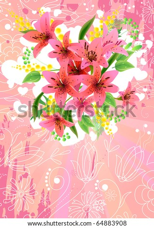 Pink greeting card with lilies. Raster version. Vector version is in my gallery. - stock photo