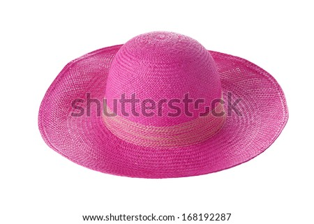 Pink hat isolated on white background - stock photo