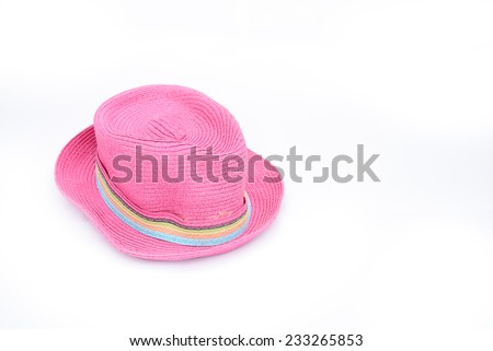 Pink hat on isolated white background for graphic designer - stock photo
