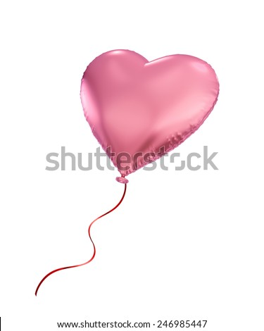 pink heart balloon, 3d object isolated on white background - stock photo