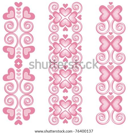 Pink Heart Borders 2   - Raster Version - stock photo