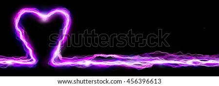Pink heart electric lightning spark banner header - stock photo