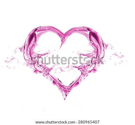 Pink Heart from water splash with bubbles isolated on white. Watercolor pink heart for Valentine's day and Wedding - stock photo