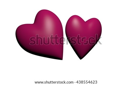 Pink hearts, 3D hearts rendering, Two pink Heart Shape ,Valentine's Day and Love Symbol. isolated on White Background. - stock photo