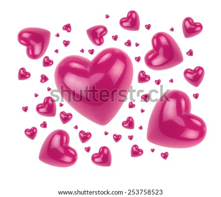 Pink hearts isolated on white background. - stock photo