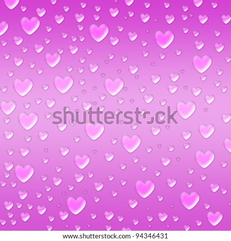 pink hearts like droplets over violet background - stock photo