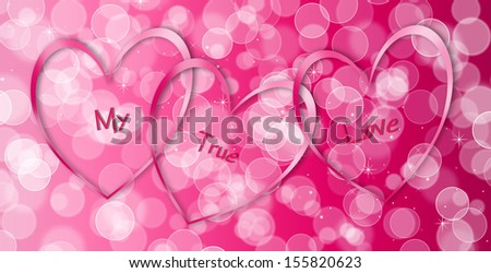 Pink Hearts - My True Love - stock photo